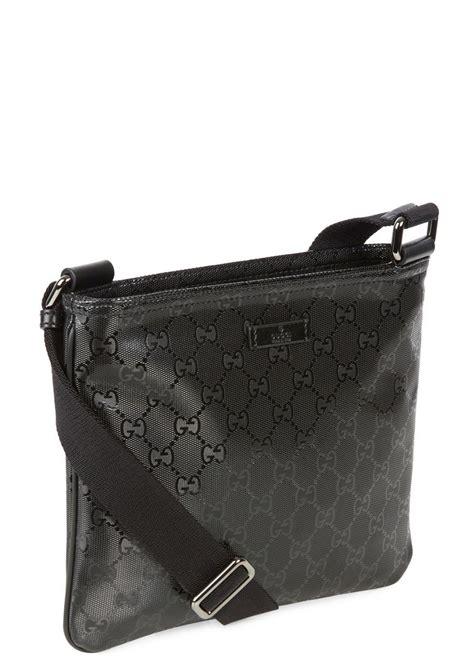 gucci black monogrammed coated canvas messenger bag  men lyst