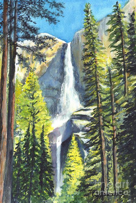 Yosemite Falls California Painting Carol Wisniewski