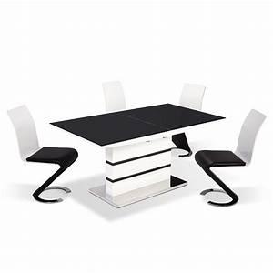 deco in paris table 4 chaises design noir et blanc With table et chaises design