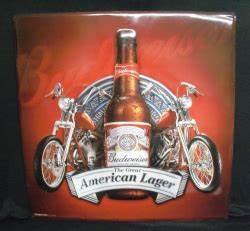 Budweiser Motorcycle Beer Bar Tin Tacker Sign