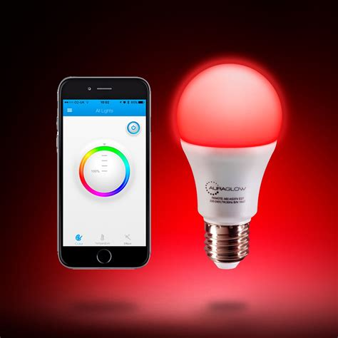 auraglow  bluetooth colour changing led smart light bulb