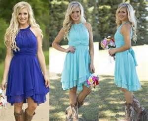 country bridesmaids dresses 2016 sale country style turquoise bridesmaid dresses crew neck ruffled chiffon mini dress