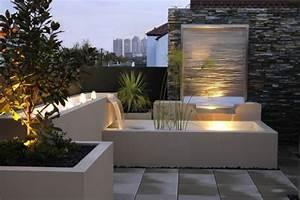 moderne gartengestaltung mit wasserfall wasserbecken im With französischer balkon mit wasser im garten 2