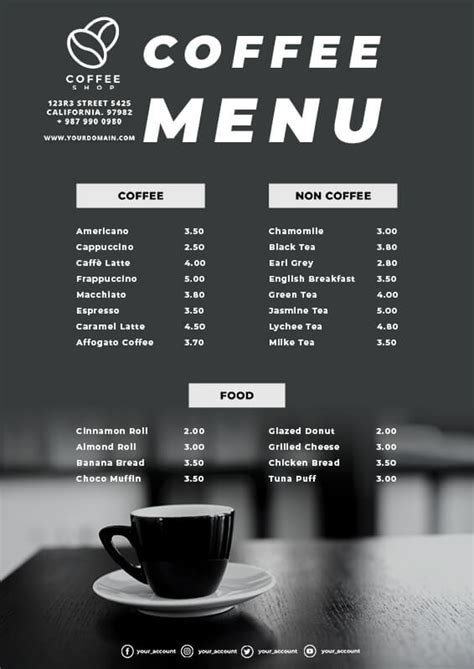 With our coffee shop menu design templates, you are halfway through establishing yours. 10+ Coffee Shop Menu Template Free PSD   room surf.com