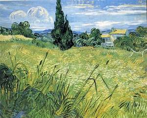 Wheatfield With Cypress 2 - Post Impressionist Vincent Van ...