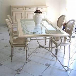 Salle a manger en fer forge artisanale tables chaises for Meuble de salle a manger avec lit fer forgé