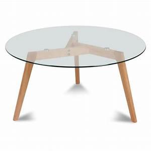 Table Basse Bois Et Verre : table basse ronde verre et bois fiord achat vente table basse table basse ronde ~ Teatrodelosmanantiales.com Idées de Décoration