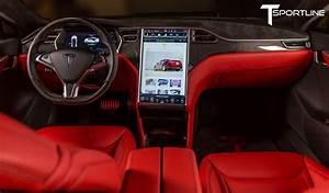 Custom Red Interior with Gloss Carbon Fiber Dash Kit | Tesla, Tesla model s, Red interiors