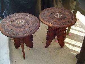 Pair of carved Indian end tables, in sheesham wood and