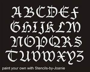 stencil blackletter gothic font alphabet 2quot capital letter With country letter stencils