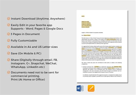 Letter Of Intent Acquisition Of Business Template In Word