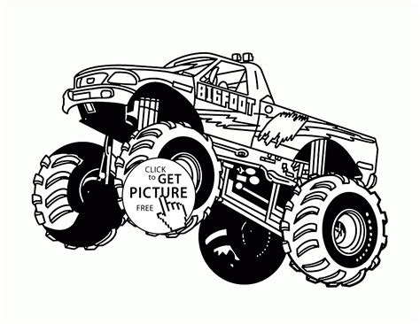 bigfoot monster truck jumps coloring page  kids transportation coloring pages printables