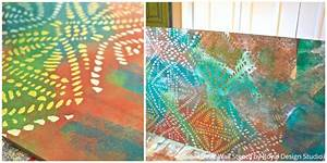 Diy colorful glass wall art with stencils paint pattern