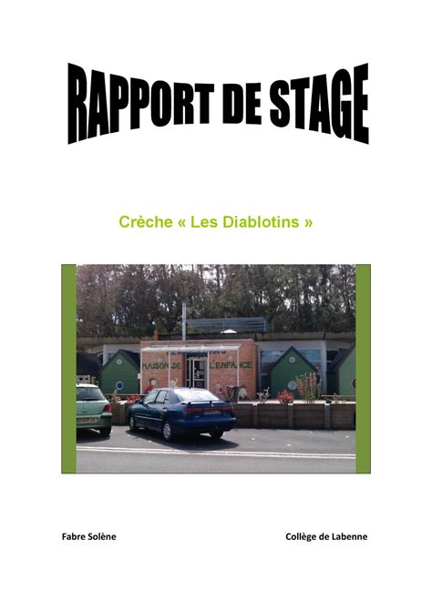 rapport de stage 3eme cuisine rtf page de garde rapport de stage 3eme