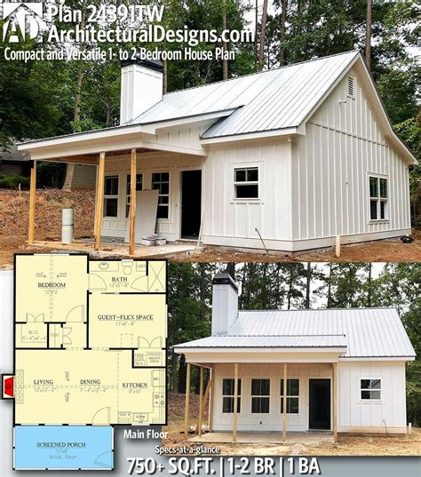 Plan 24391TW: Compact and Versatile 1 to 2 Bedroom House