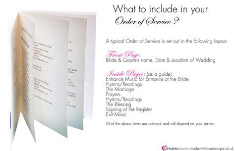 love order  service booklets wording