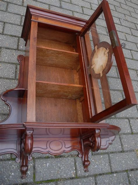 19th Century Antique Walnut Wall Hanging Cabinet W