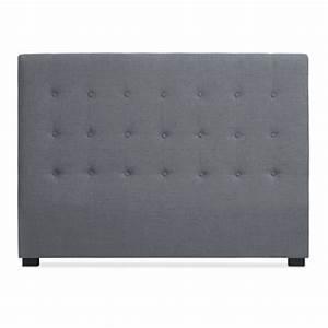 Tete De Lit Tissu : t te de lit matelass e 160cm tissu gris pas cher ~ Premium-room.com Idées de Décoration