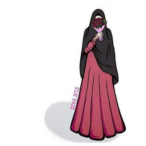 gambar hijab syari kartun tutorial hijab terbaru