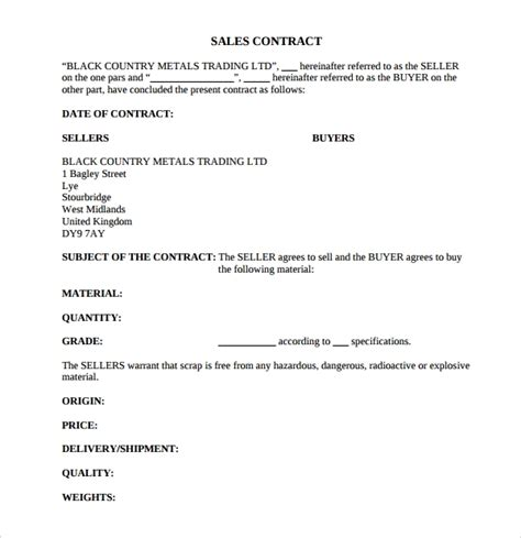 sales contract templates  google docs ms word