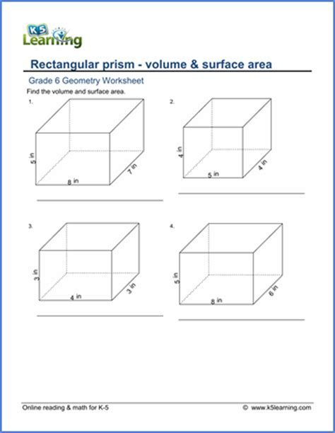 grade 6 worksheets volume surface area of rectangular prisms k5 learning