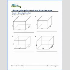 Grade 6 Worksheets Volume & Surface Area Of Rectangular Prisms  K5 Learning