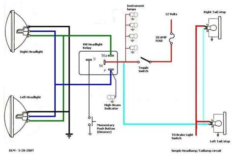 Simple Headlight Relay Wiring by Thesamba Hbb Road View Topic Wiring Brake