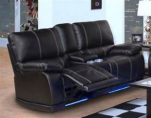 Couch Led : black leather power rocker reclining loveseat with led ~ Pilothousefishingboats.com Haus und Dekorationen