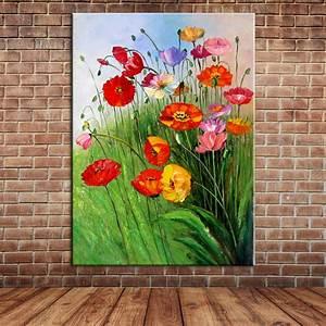 Peinture à L Huile Mur : moderne peint la main printemps fleurs peinture l ~ Premium-room.com Idées de Décoration