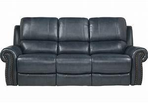 Frederickburg Blue Leather Reclining Sofa - Reclining