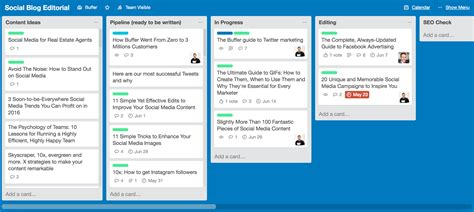 trello board inside buffer s new design and a the look at our content strategy