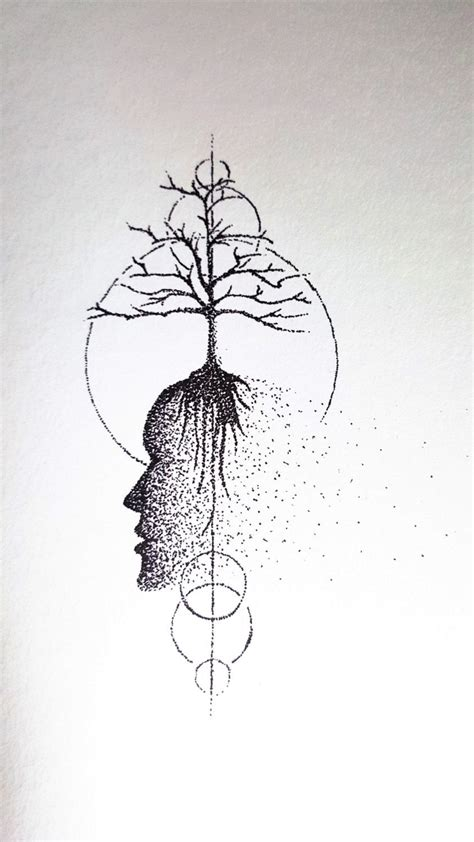 Abstract Black Ink by Original Ink Drawing Tree Of Dotwork