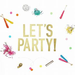 Let's Party Banner - Gold Glitter | Pop and Confetti