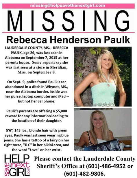 rebecca henderson alabama missing monday rebecca henderson paulk penny 4 our thoughts