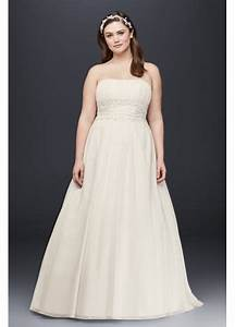 Chiffon empire waist plus size wedding dress davids bridal for Chiffon wedding dress empire waist