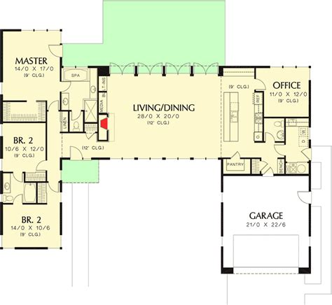 courtyard house plans 3 bed modern house plan with open concept layout 69619am
