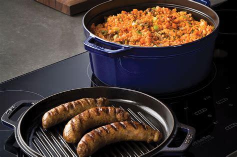 staub braise grill  dutch oven  grill pan lid  quart sapphire blue cutlery