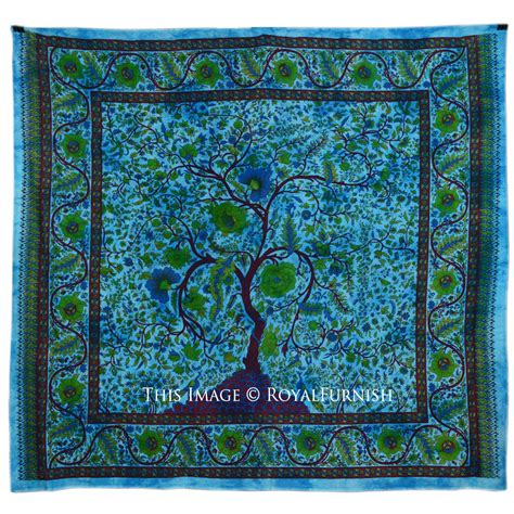 Large Turquoise Indian Young Tree Hippie Cotton Fabric