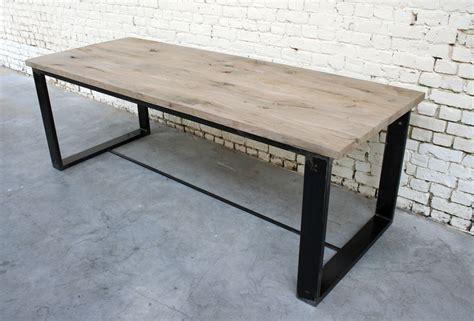 table bois et metal table a t005 giani desmet meubles indus bois m 233 tal et cuir