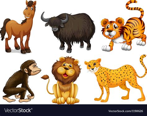 Different Kinds Of Four-legged Animals Royalty Free Vector