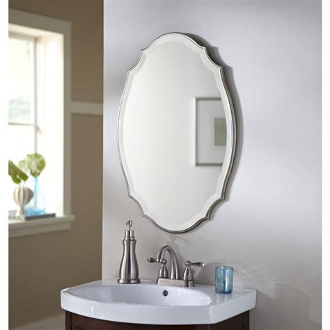Oval Vanity Mirrors For Bathroom by Shop Allen Roth 20 In X 30 In Silver Beveled Oval Framed