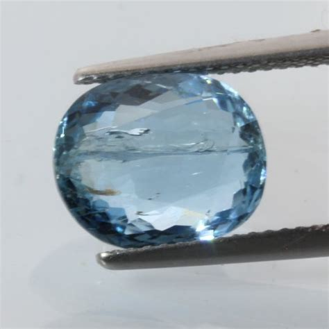aquamarine water blue beryl faceted oval heat only gem 1