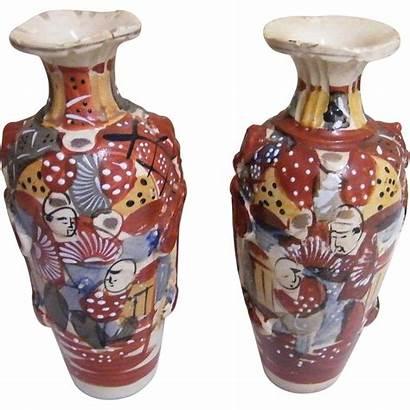 Satsuma Japanese Antique Century Meiji 19th Earthenware