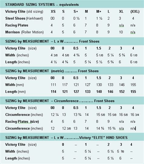 Shoe Specifications and Sizing - Glue On Horseshoes by ...