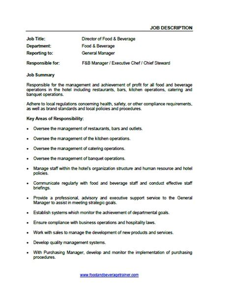 Resume F B Director by Food And Beverage Descriptions