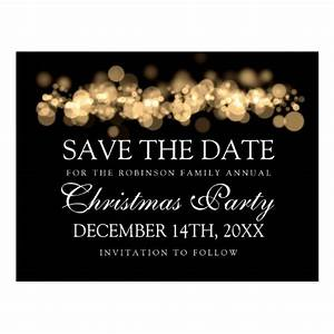 Christmas Party Save The Date Gold Bokeh Lights Postcard ...