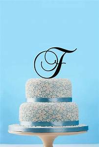 Monogram initial wedding cake toppercustom letter wedding for Letter f wedding cake topper