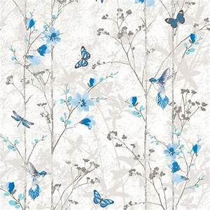 Blue flowers and butterflies shabby chic wallpaper - The