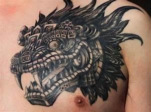 Head of feathered serpent quetzalcoatl aztec tattoo on ...