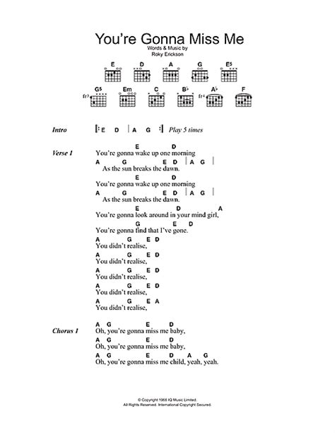 you re gonna miss me sheet music by the thirteenth floor
